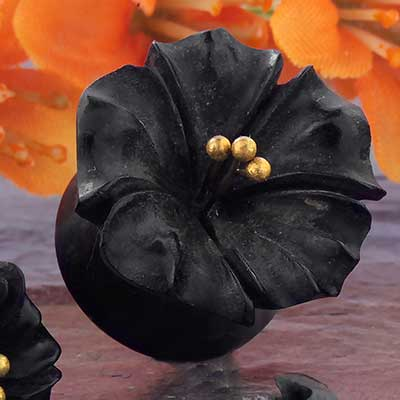 Ebony Wood Flower Plug with Brass Stamens