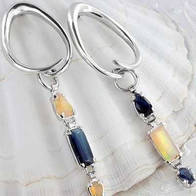 Silver and Kyanite with Ethiopian Opal Weights