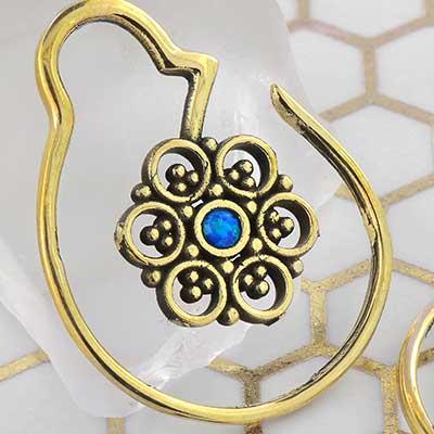Brass Mini Flower Hoops with Blue Opal