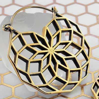 Brass Vector Sacred Geometry Hoops