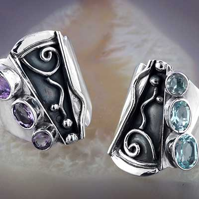 Abstract Gemstone Ring
