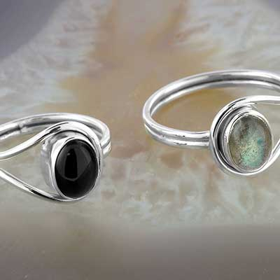 Silver and Stone Loop Ring