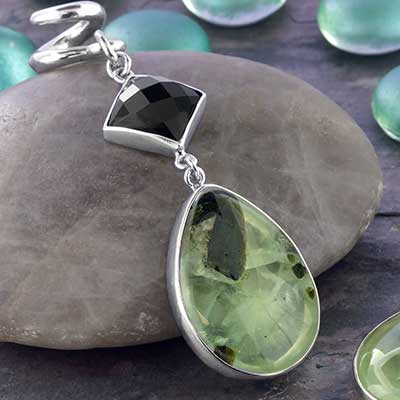 Silver and Prehnite Dangle Weights