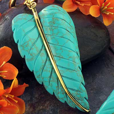 Solid Brass and Synthetic Turquoise Leaf Weights