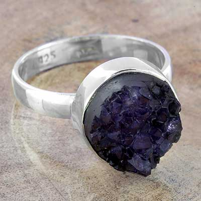 Silver and Amethyst Druzy Ring