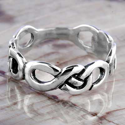 Silver Celtic Eternity Knot Band Ring