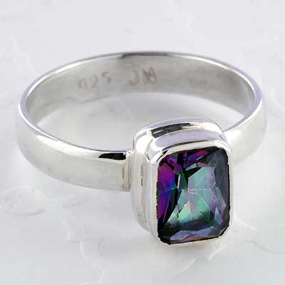 Silver and Faceted Rectangle Mystic Quartz Ring