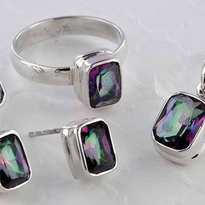 Silver and Faceted Rectangle Mystic Quartz Jewelry