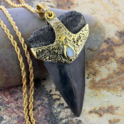 Megalodon Tooth Necklace with Opal