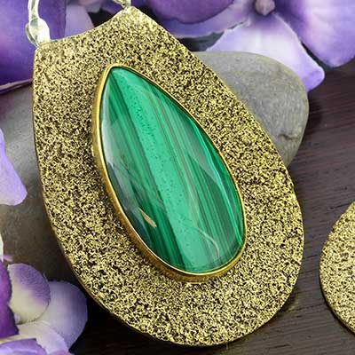 Distressed Brass Solstice Moon Design with Malachite