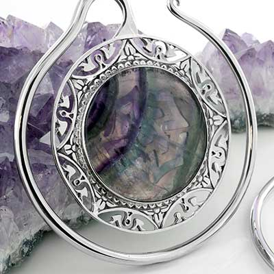 White Brass Puj Ju Hoops with Fluorite