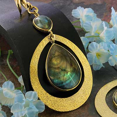 Solid Brass and Double Labradorite Teardrop Weights