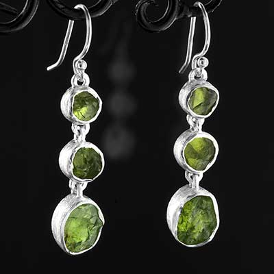 Silver Triple Peridot Earrings