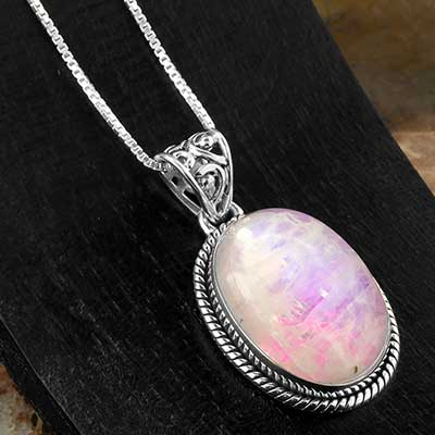 Pink Moonstone and Silver Necklace