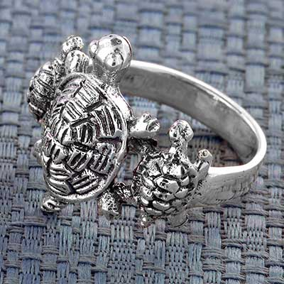Silver Turtle Trio Ring