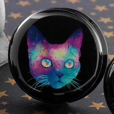 Acrylic Cosmic Cat Plugs