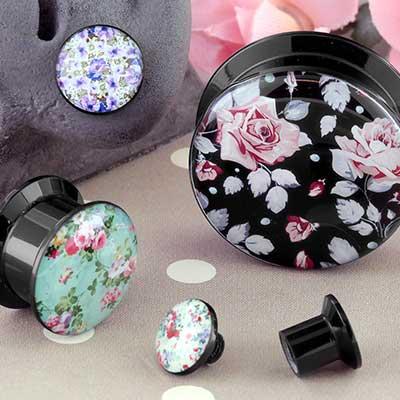 Acrylic Floral Print Plugs