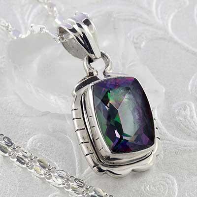 Framed Mystic Quartz and Silver Necklace