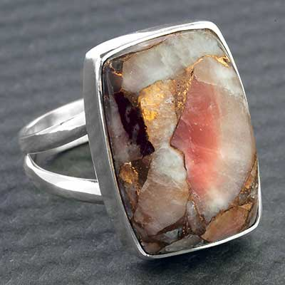 Silver and Red Calcite Copper Ring