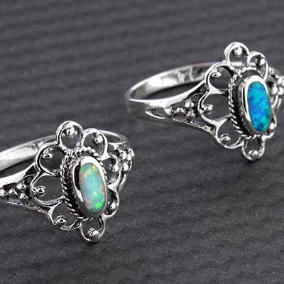 Silver and Opal Paisley Flower Ring