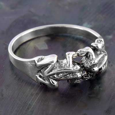 Silver Frog Duo Ring