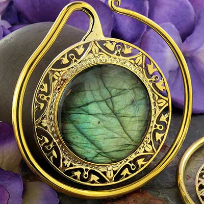 Solid Brass Puj Ju Hoops with Labradorite