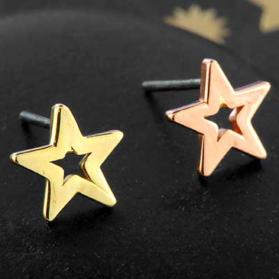 14k Gold Open Star Threadless End