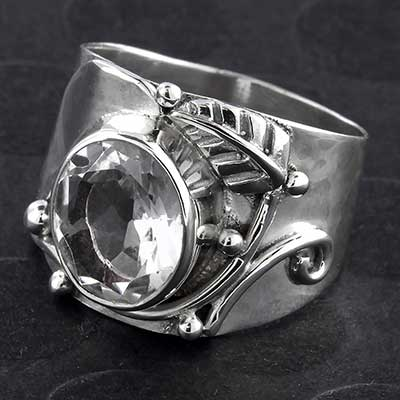 Silver and Crystal Decor Ring