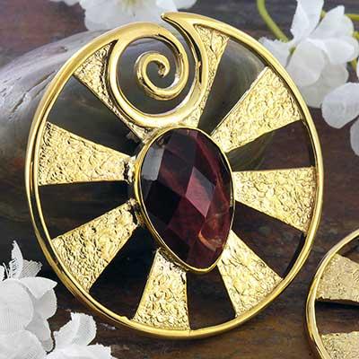 Brass Eye of Shiva Design with Red Tiger Eye