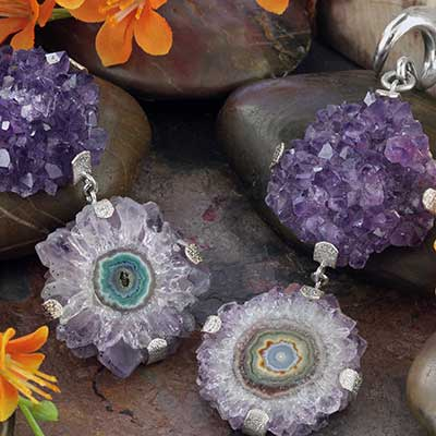 Silver and Double Amethyst Dangle Weights