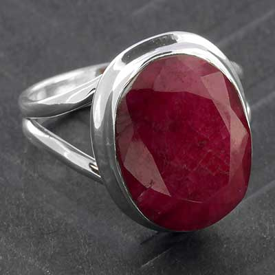 Silver and Faceted Indian Ruby Ring