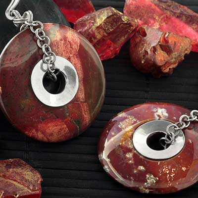 Silver and Red Picture Jasper Disc Weights