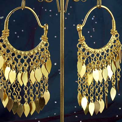 Gold Plated Ornate Dangle Hoops