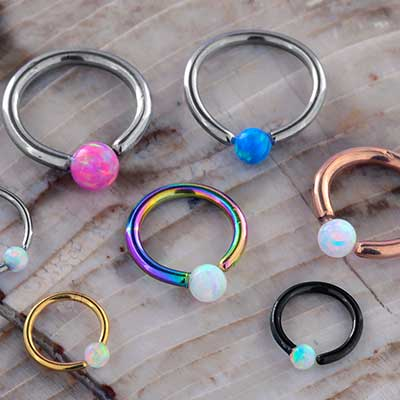 Fixed Bead Ring with Synthetic Opals