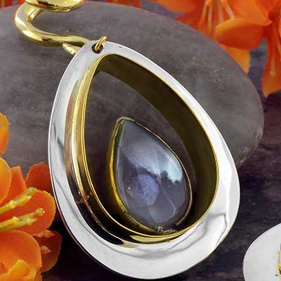 Solid Brass and Silver and Botswana Agate Teardrop Weights