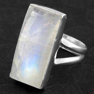 Silver and Rectangle Rainbow Moonstone Ring
