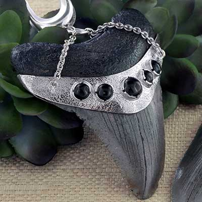 Silver and Megalodon Teeth Weights with Black Onyx