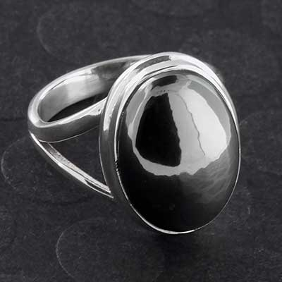 Silver and Hematite Ring