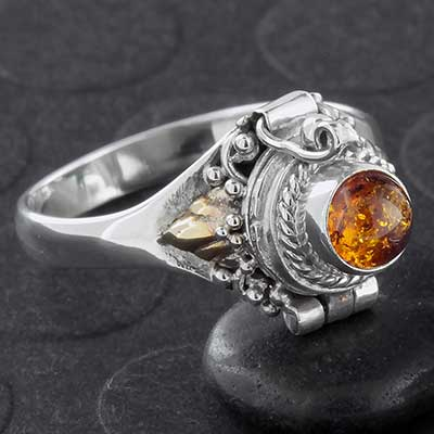 Silver and Baltic Amber Poison Ring