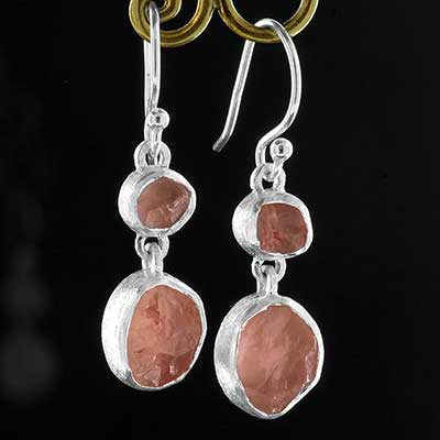 Silver Double Rose Quartz Earrings