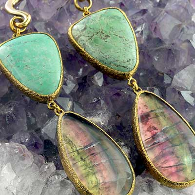 Solid Brass and Turquoise with Fluorite Weights