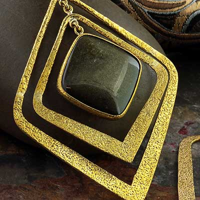 Hammered Brass and Golden Obsidian Movement Weights