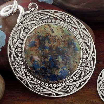 White Brass and Azurite Medallion Weights