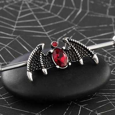 Bat Wings with Red Gem Industrial Barbell
