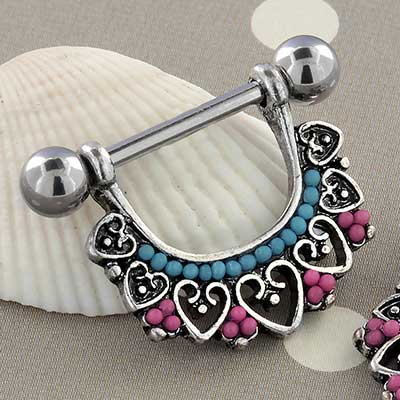 Beaded Heart Nipple Stirrup