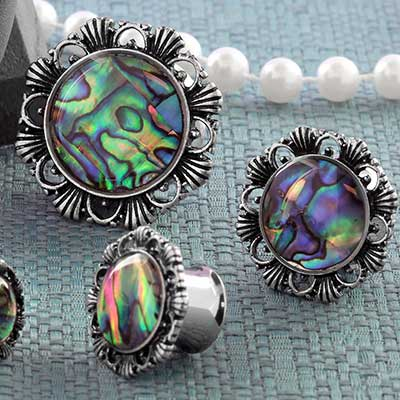 Filigree Abalone Shell Plugs