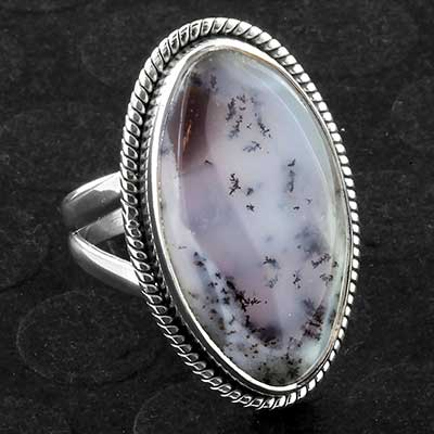 Silver and Dendritic Agate Ring