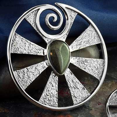 White Brass Eye of Shiva Design with Golden Obsidian