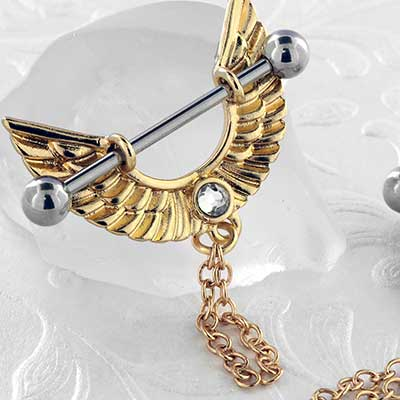 Winged Nipple Stirrup with Chains