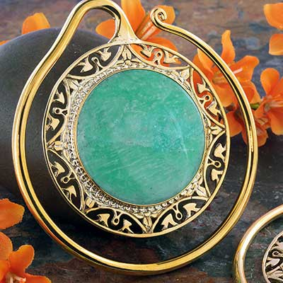 Solid Brass Puj Ju Hoops with Amazonite